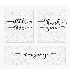 Hand written calligraphy style messages set vector