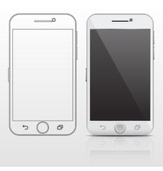 Outline and realistic smartphone cell phone vector
