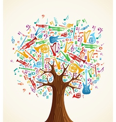 Abstract musical tree made with instruments vector image