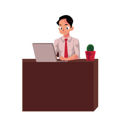 businessman working on computer sitting in office vector image