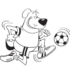 Cartoon Dog Playing Soccer vector image vector image