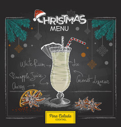 Chalk drawing christmas cocktail menu design vector