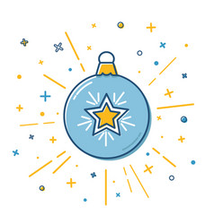 christmas bauble icon in flat style vector image