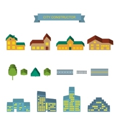 City constructor 3d icons set vector