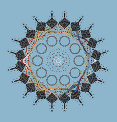 Contour mandala shaped snowflakes for art therapy vector