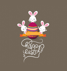 easter eggs and bunny greeting card vector image vector image