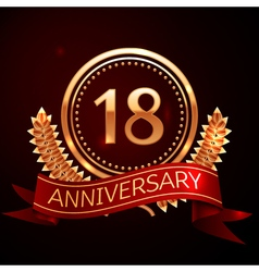 Eighteen years anniversary celebration with golden vector
