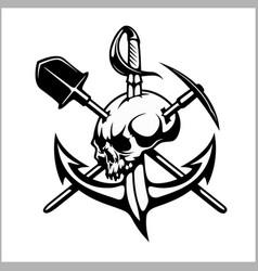 emblem of treasure hunters heraldic sign - vector image