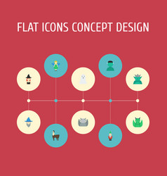 flat icons dinosaur wizard halloween and other vector image