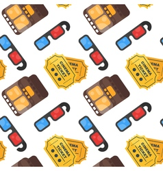 flat style seamless cinema pattern with ticket 3d vector image