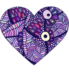 Gorgeous silhouettes of heart made of doodle vector image
