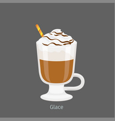 Irish glass mug with coffee glace flat vector