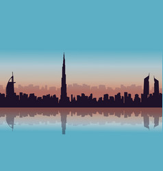 Landscape of dubai city silhouettes vector