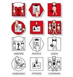 Line icons set of the agreements and meetings vector
