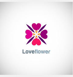 love circle flower logo vector image vector image
