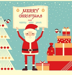 Merry christmas card with santa claus and presents vector