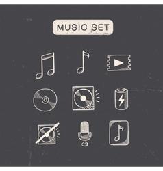 Music media audio symbols set vector image vector image