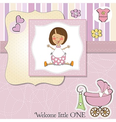 new baby girl announcement card with little girl vector image vector image