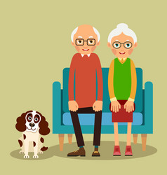 on the sofa sit elderly woman man and dog vector image vector image
