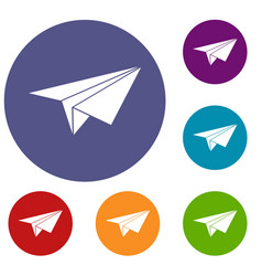 Paper plane icons set vector