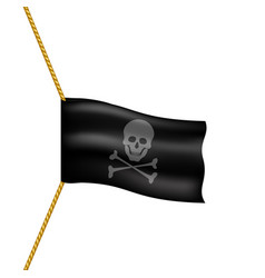 Pirate flag with skull symbol hanging on rope vector