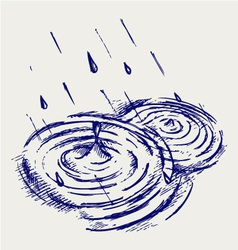 Rain drops rippling in puddle vector