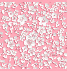 Red sakura flower seamless pattern vector