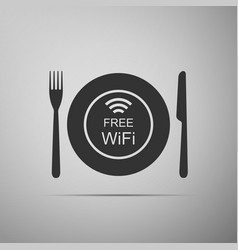 restaurant free wi-fi zone plate fork and knife vector image vector image