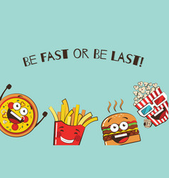 Set of funny fast food icons cartoon face food vector