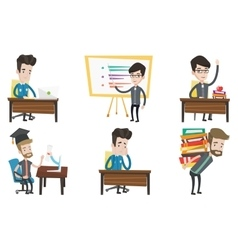 Set of student and teacher characters vector