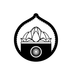 Stamp lotus flower indian culture vector