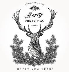 Vintage Christmas card Deer vector image vector image