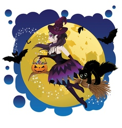 Witch and Full Moon5 vector image vector image