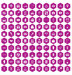 100 business day icons hexagon violet vector