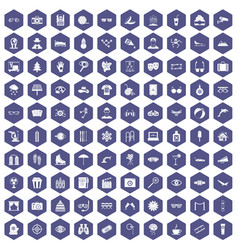 100 glasses icons hexagon purple vector image vector image