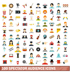 100 spectator audience icons set flat style vector