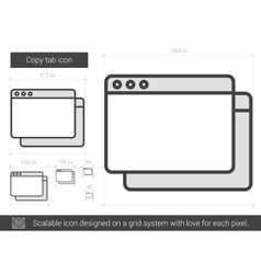 Copy tab line icon vector