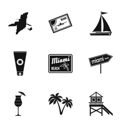 Attractions of miami icons set simple style vector