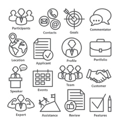Business management icons in line style pack 25 vector
