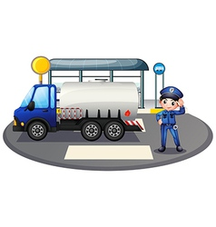 A policeman with a vehicle at the road vector