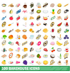 100 bakehouse icons set isometric 3d style vector