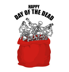 Day of the dead skeletons in sack skull in bag vector