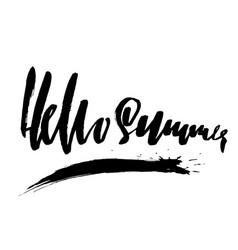 Hello summer hand drawn modern brush lettering vector