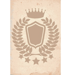 Old paper texture with heraldic emblem vector