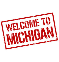 Welcome to michigan stamp vector