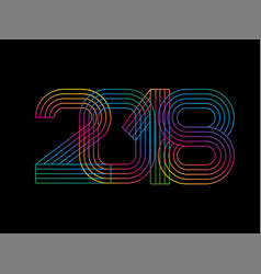 2018 happy new year numbers minimalist style vector image vector image