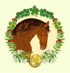 Horse dark chestnut head of stallion vector