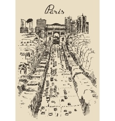 Avenue des champs-elysees paris hand drawn sketch vector