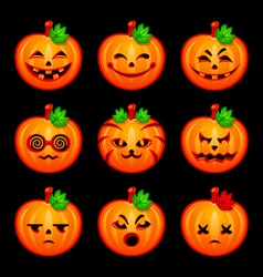 Pumpkin emoticons vector image