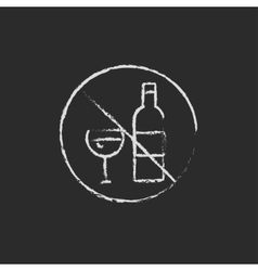 No alcohol sign icon drawn in chalk vector